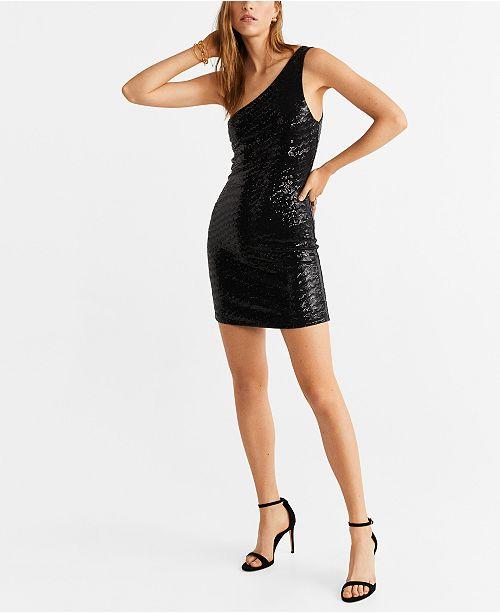 MANGO Asymmetric Sequin Dress