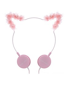 LAURA ASHLEY Headphones, Fashionable Style Over the Ear Headphones for Girls- Pink Furry Cat, Rose Gold Crown, Pink Flower Cat