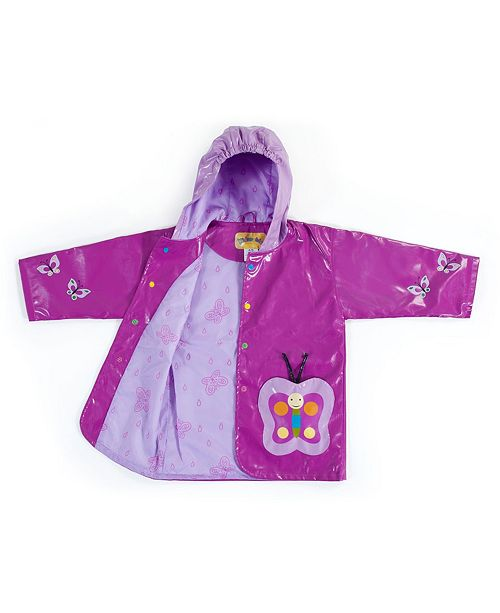 Kidorable Little and Big Girl with Comfy Butterfly Raincoat