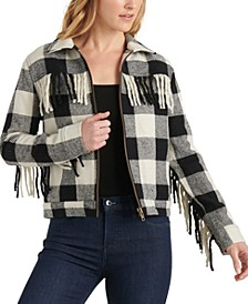 Buffalo-Plaid Fringe Jacket
