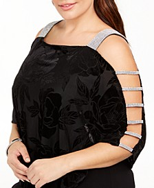 Plus Size Burnout Velvet Overlay Top