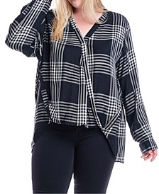 Plus Size Plaid Surplice Top