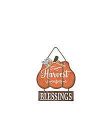 """Harvest Blessings"" Wood Pumpkin Wall Art"