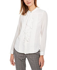 Ruffled Button-Front Top