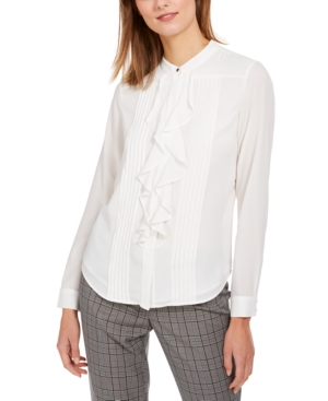 Victorian Blouses, Tops, Shirts, Sweaters Calvin Klein Petite Ruffle Front Tuxedo Button-Up Shirt $62.99 AT vintagedancer.com