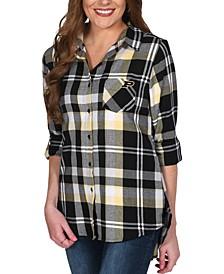 UG Apparel Women's Purdue Boilermakers Flannel Boyfriend Plaid Button Up Shirt