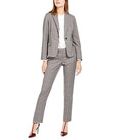 Plaid One-Button Jacket, Ruffled Top & Plaid Straight-Leg Pants