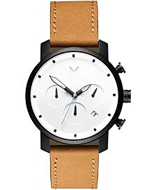Men's Chronograph White Black Tan Leather Strap Watch 40mm