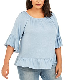 Plus Size Flounce 3/4-Sleeve Top, Created for Macy's
