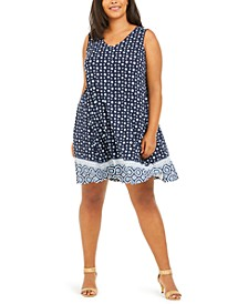 Plus Size Printed Cross-Back Swing Dress, Created For Macy's