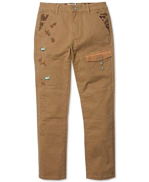 Born Fly Men's Wildlife Khaki Big & Tall Slim-Straight Stretch Pants