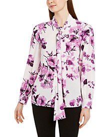 Petite Floral Tie-Neck Button-Up Blouse