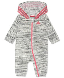 Baby Girls Heathered Velour Hooded Coverall