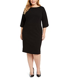 Plus Size Tulip-Sleeve Sheath Dress