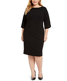 Calvin Klein Plus Size Tulip-Sleeve Sheath Dress