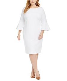 Plus Size Bell-Sleeve Sheath Dress