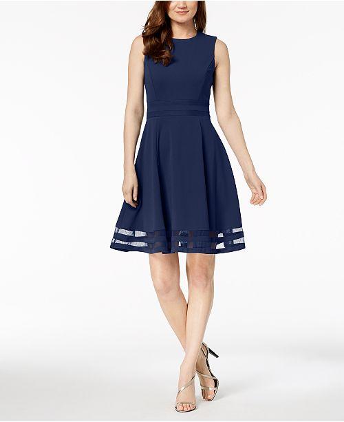 Calvin Klein Petite Illusion-Trim Fit & Flare Dress