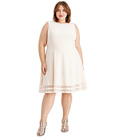 Plus Size Illusion-Stripe Fit & Flare Dress