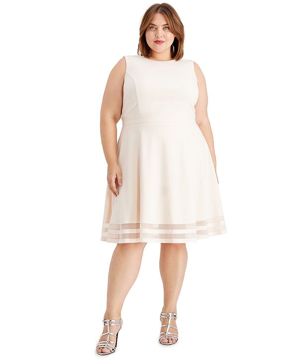 Calvin Klein Plus Size Illusion-Stripe Fit & Flare Dress