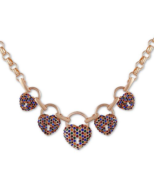 "GUESS Gold-Tone Multicolor Pavé Crystal Heart Station Necklace, 18"" + 2"" extender"
