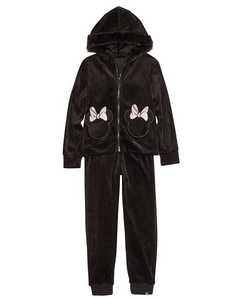 Disney Little Girls 2-Pc. Minnie Mouse Bow Jacket & Jogger Pants Set