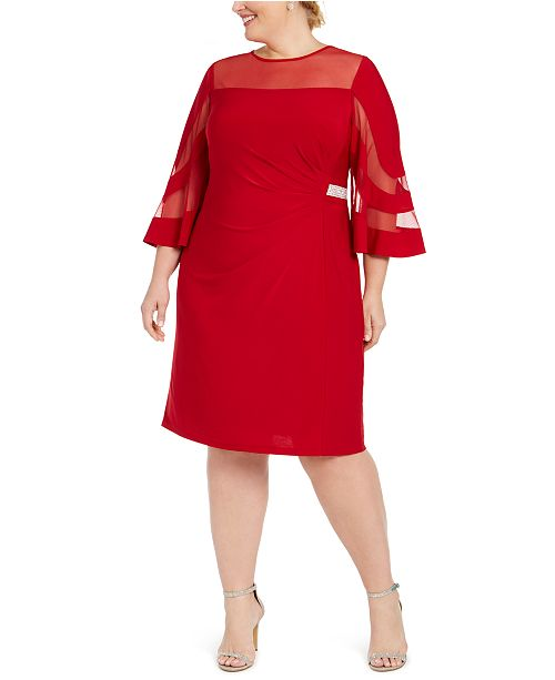 R & M Richards Plus Size Illusion-Neck Dress