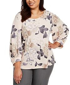 Plus Size Floral-Print Blouson-Sleeve Top