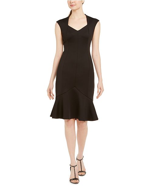 Calvin Klein Cap-Sleeve Flounce-Bottom Dress