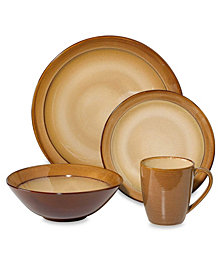 Sango Roma Ceramic Caramel 16 Piece Dinnerware Set
