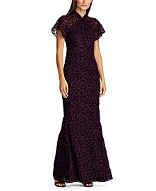 Floral Burn-Out Velvet Gown