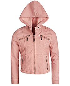 Big Girls Removable-Hood Moto Jacket