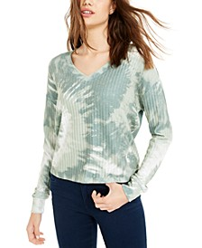 Juniors' Cozy Ribbed Tie-Dyed Top