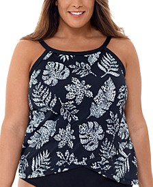 Plus Size Spotted Leaves Printed Cross-Over Underwire Tankini Top, Created for Macy's
