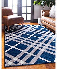 Plaid Jso006 Navy Blue 9' x 12' Area Rug