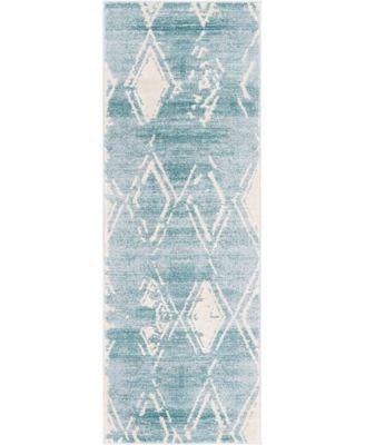 "Carnegie Hill Uptown Jzu006 Turquoise 2'2"" x 6' Runner Rug"