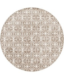Fifth Avenue Uptown Jzu002 Brown 8' x 8' Round Rug