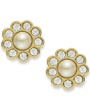 kate spade new york Earrings, 12k Gold-Plated Cream Glass Pearl Stud Earrings