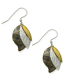Jody Coyote Bronze Earrings, Textured Three-Leaf Drop Earrings
