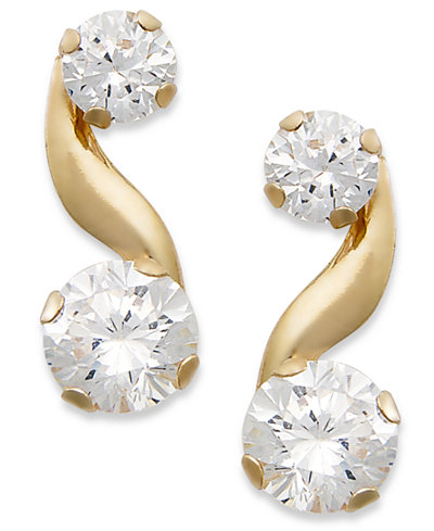 10k Gold Earrings, Cubic Zirconia Bypass Earrings (1-1/5 ct. t.w.)
