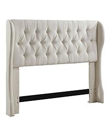 Kira Scalloped Wingback Tufted Upholstered Headboard, Full/Queen
