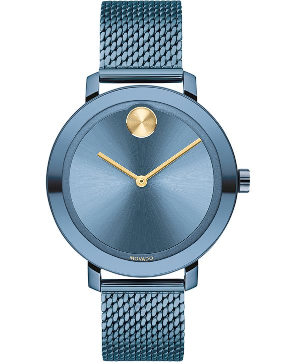 Movado Women's Swiss Bold Evolution Blue Ion-Plated Stainless Steel Mesh Bracelet 34mm