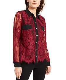 Mixed-Media Button-Up Shirt, Created for Macy's