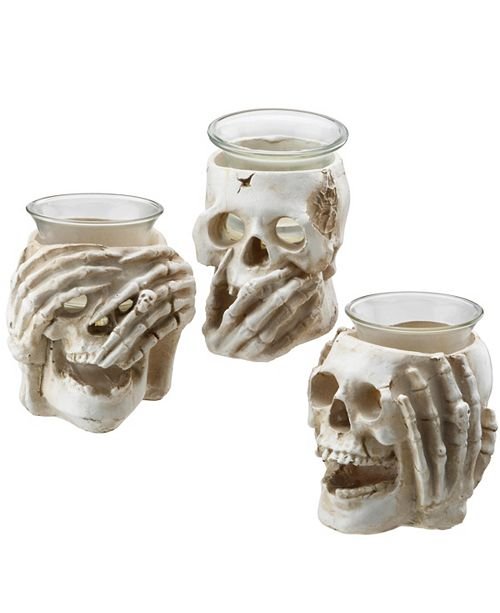 National Tree Company Skull Candleholders - Set of 3