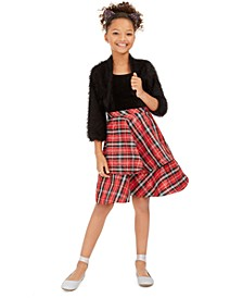 Big Girls 2-Pc. Eyelash Bolero & Plaid Dress Set
