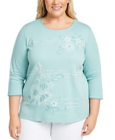 Plus Size Cottage Charm Embellished Top