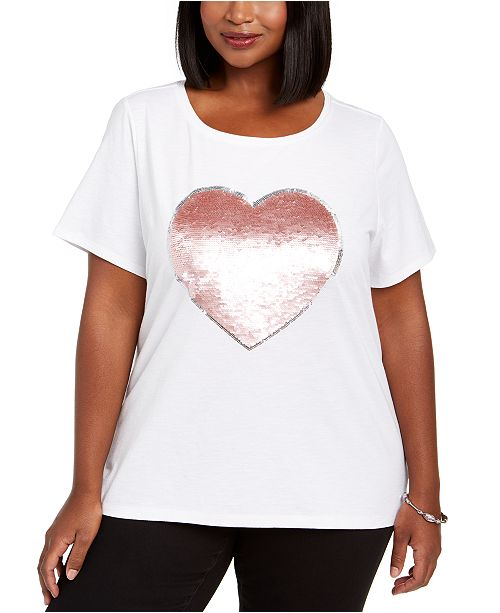 INC International Concepts INC Plus Size Cotton Sequin-Heart T-Shirt, Created For Macy's