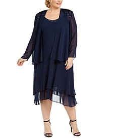 Plus Size Embellished Dress & Jacket