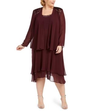 1930s Art Deco Plus Size Dresses | Tea Dresses, Party Dresses Sl Fashions Plus Size Embellished Dress  Jacket $129.00 AT vintagedancer.com