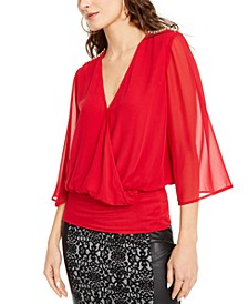 Sheer-Sleeve Embellished Top, Created for Macy's