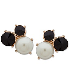 Gold-Tone Stone & Imitation Pearl Cluster Clip-On Stud Earrings